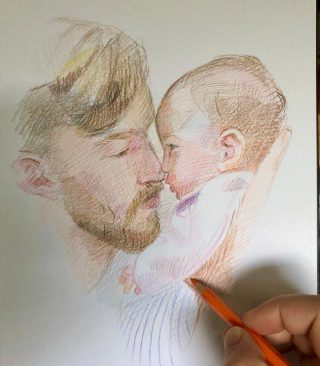 Finishing this portrait today #fatheranddaughter