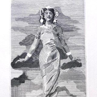 "Engraving "" Mata Hari"" Proofprint detail."