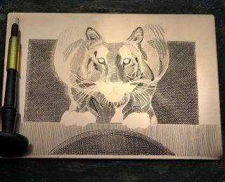 """Engraving """"Crouching Tiger"""" in progress"""