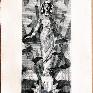 "Engraving Mata Hari. ""The spy"" proofprint"